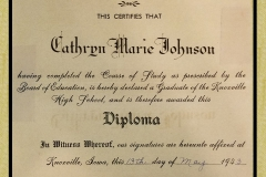 Cathryn Marie Johnson Hg Sch Graduation  Diploma 1943