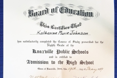 Eighth Graduation Certificate 1939