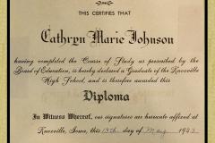 Cathryn Marie Johnson Hg Sch Graduation  Diploma 1943